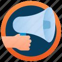 bullhorn, loudhailer, megaphone, megaphone logo, speaker icon