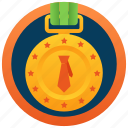 prize, ribbon pendant, award, achievement, business medal icon