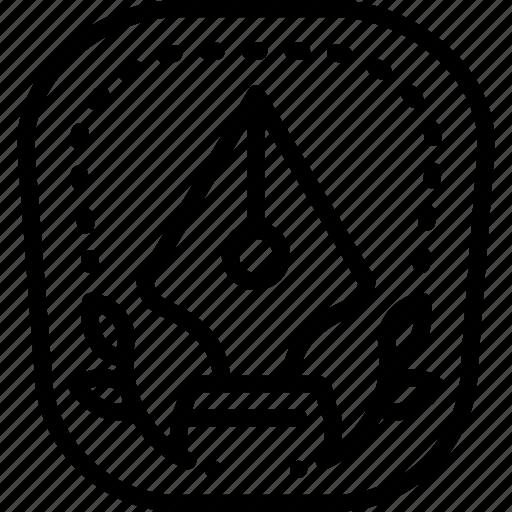 achievement, award, badge, creative, logo, pen icon