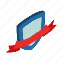badge, element, frame, isometric, red, ribbon, shield icon