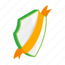 badge, element, frame, green, isometric, ribbon, shield icon