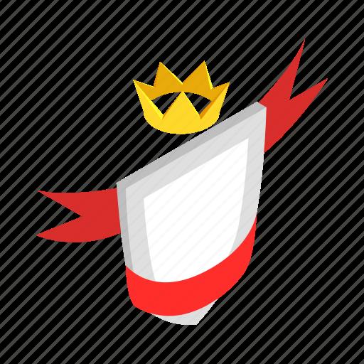 badge, element, frame, isometric, ribbon, shield, silver icon