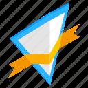 badge, element, frame, isometric, ribbon, shield, triangle icon