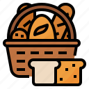 bake, bakery, basket, bread icon