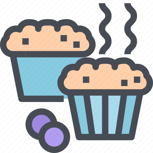bakery, berry, blueberry, food, muffins icon