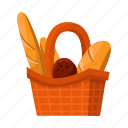 bakery, basket, bread, food, loaf, production icon