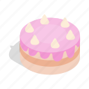 birthday, cake, cream, dessert, food, isometric, sweet icon
