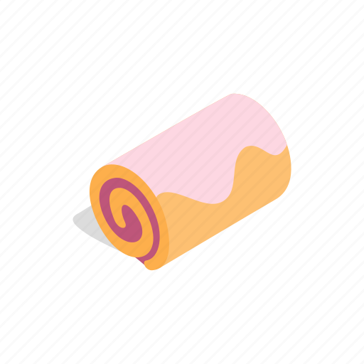 dessert, food, isometric, pastry, roll, snack, sweet icon