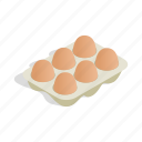 container, cooking, eggs, food, isometric, packaging, protein icon