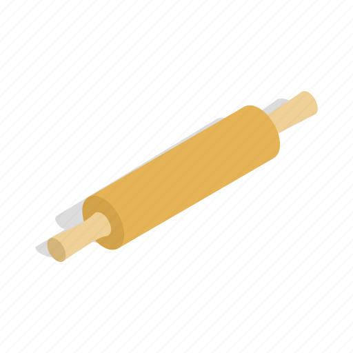 bakery, isometric, kitchen, pin, roller, rolling, tool icon