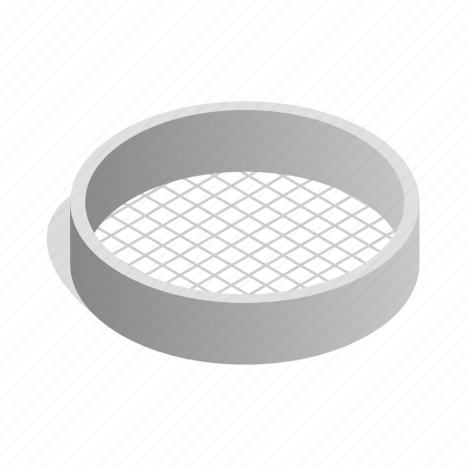 cooking, isometric, kitchen, metal, sieve, sift, tool icon