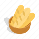 bakery, bread, fresh, isometric, loaf, loaves, wheat icon