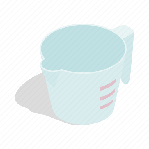 container, cup, equipment, glass, isometric, kitchen, measuring icon