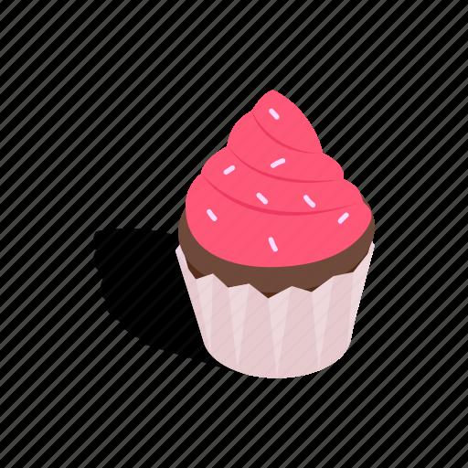 bakery, cake, cupcake, dessert, food, isometric, sweet icon