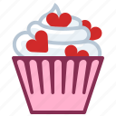 baking, cupcake, hearts, love, patisserie, sweet, yumminky icon