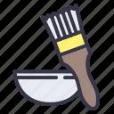 baking, tools, pastry, brush, bowl, spreding, brushing icon