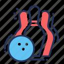 bowling, bowling ball, rolling, skittles