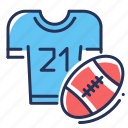 american football, player, rugby ball, t-shirt icon