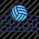 ball, flying, net, volleyball