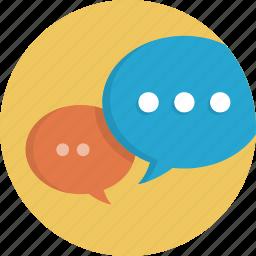 bubble, bubbles, chat, communication, dialogue, social, speech, talk icon