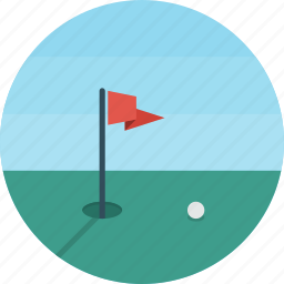 ball, flag, golf, hole, play, sport icon