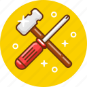hammer, screwdriver, service, tools icon