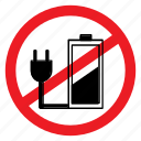 ban, battery, charge, no, notice, plug, sign icon