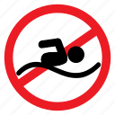 ban, no, notice, pool, sign, swim, swimming icon