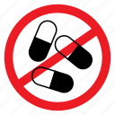 ban, drugs, health, medicine, no, notice, sign icon
