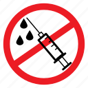 ban, drugs, inject, injection, no, notice, sign icon