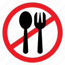 ban, eating, fork, no, notice, sign, spoon icon