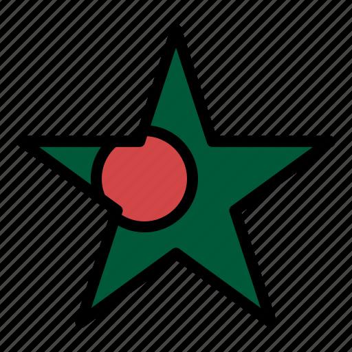 bangladesh, flag, star icon