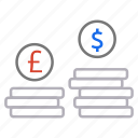 coins, conversion, currency, dollar, money exchange, money value icon