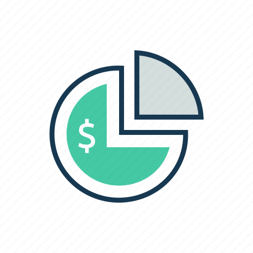 bank, dollar, finance, money, pie chart, savings icon