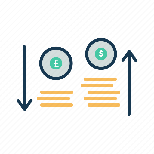 coins, currency, dollar, euro, money exchange, money value icon