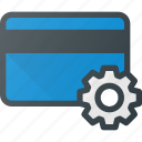 action, bank, card, gear, settings icon