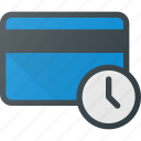 action, bank, card, delay, time icon