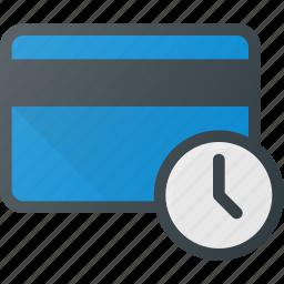 action, bank, card, delay, time icon
