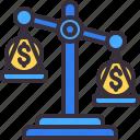 balance, business, dollar, law, money icon