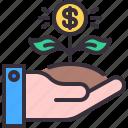 dollar, growth, hand, money, plant icon