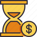 dollar, hourglass, money, payment, time