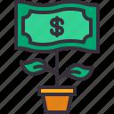 bank, dollar, growth, money, plant icon