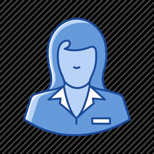 banker, female teller, teller, woman icon