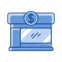 building, dollar sign, finance, financial institution icon