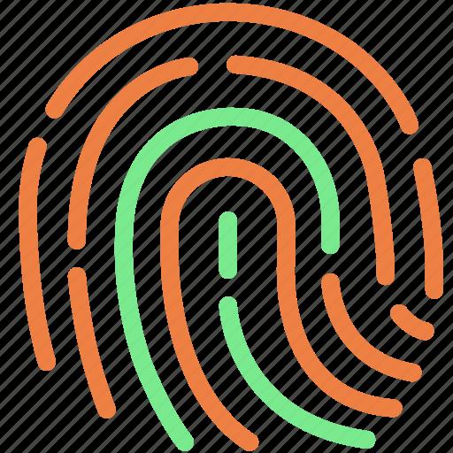 fingerprint, lock, password, protection, security, shield icon