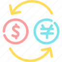 bill, business, dollar, exchange, finance, money icon