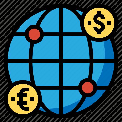 exchange, global, money, transfers icon