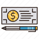 bank, banking, check, currency, money, payment icon