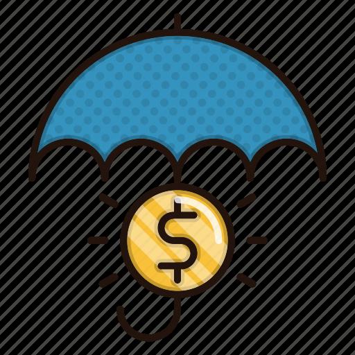 banking, insurance, money, protection, umbrella icon