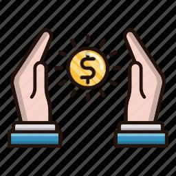 banking, loan, money, protection, savings, shine icon